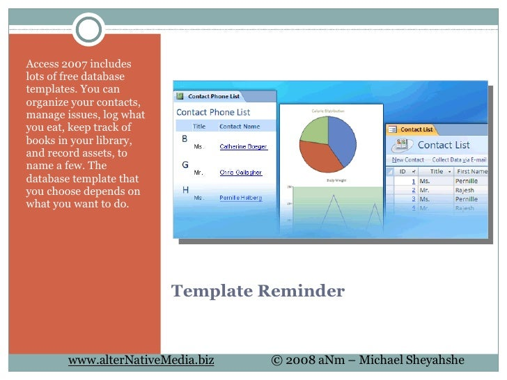 training database template access