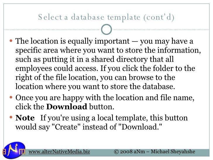 26 select a database template
