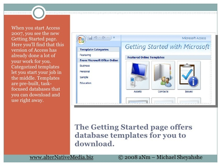 7 the getting started page offers database templates