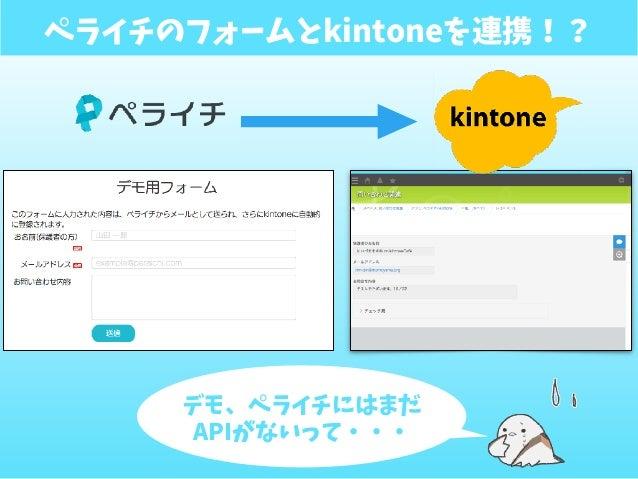 ペライチのフォームとkintoneを連携!? デモ、ペライチにはまだ APIがないって・・・