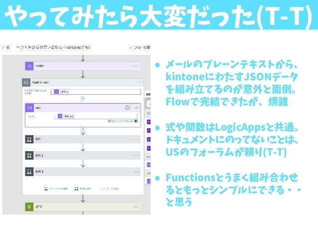 やってみたら大変だった(T-T) • メールのプレーンテキストから、 kintoneにわたすJSONデータ を組み立てるのが意外と面倒。 Flowで完結できたが、煩雑 • 式や関数はLogicAppsと共通。 ドキュメントにのってないことは、 ...