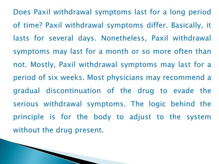 Paxil Withdrawal Symptoms Anger