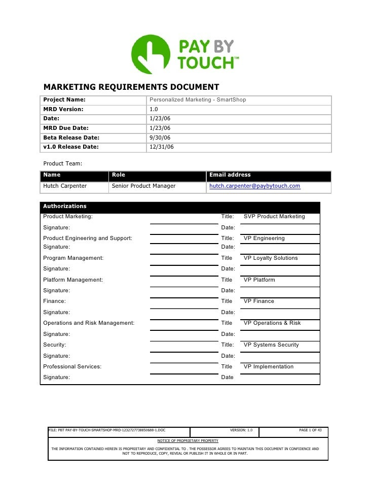 MARKETING REQUIREMENTS DOCUMENT Project Name:                                        Personalized Marketing - SmartShop MR...