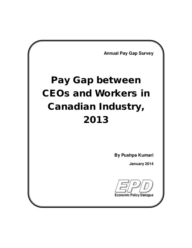 Pay Gap between CEOs and Workers in Canadian Industry, 2013