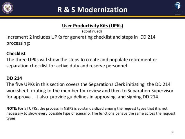 NSIPS RETIREMENT AND SEPARATION PERS 2 – Dd 214 Worksheet