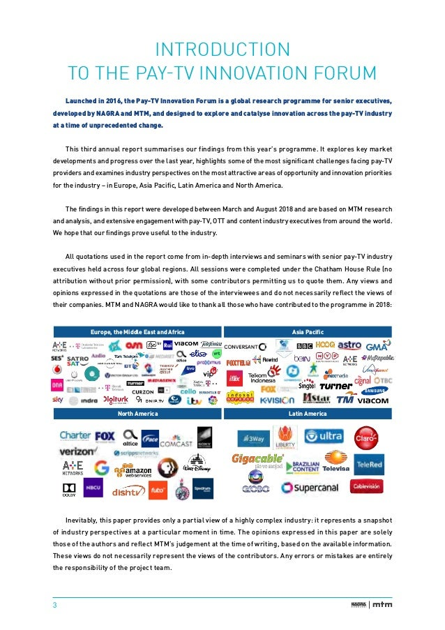 Pay TV innovation forum industry perspectives 2018