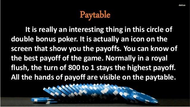 Payback Percentage For Double Bonus Poker