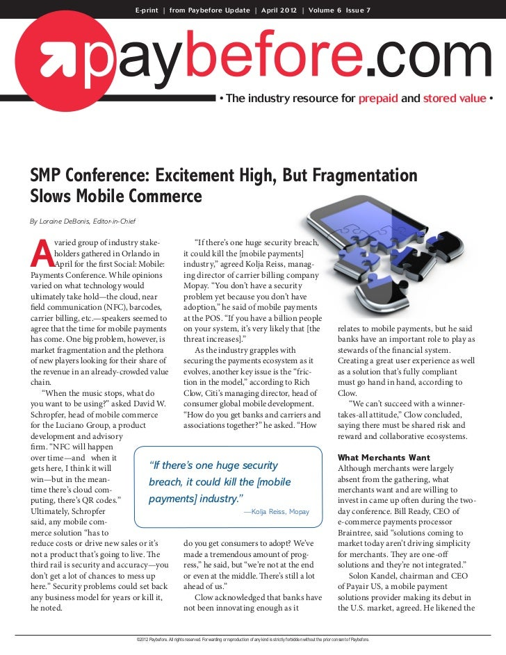 E-print | from Paybefore Update | April 2012 | Volume 6 Issue 7                                                           ...
