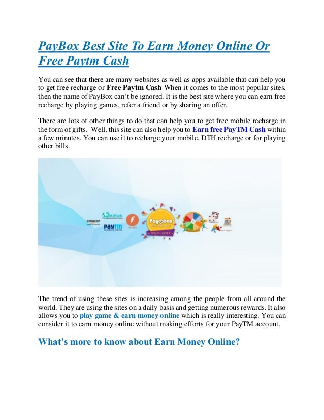 Pay box best platform to earn money online or free paytm cash