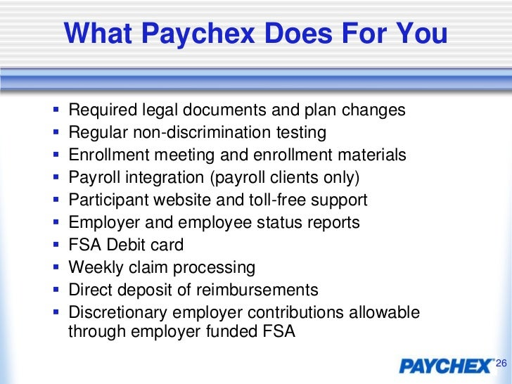 paychex fsa Paychex 401k