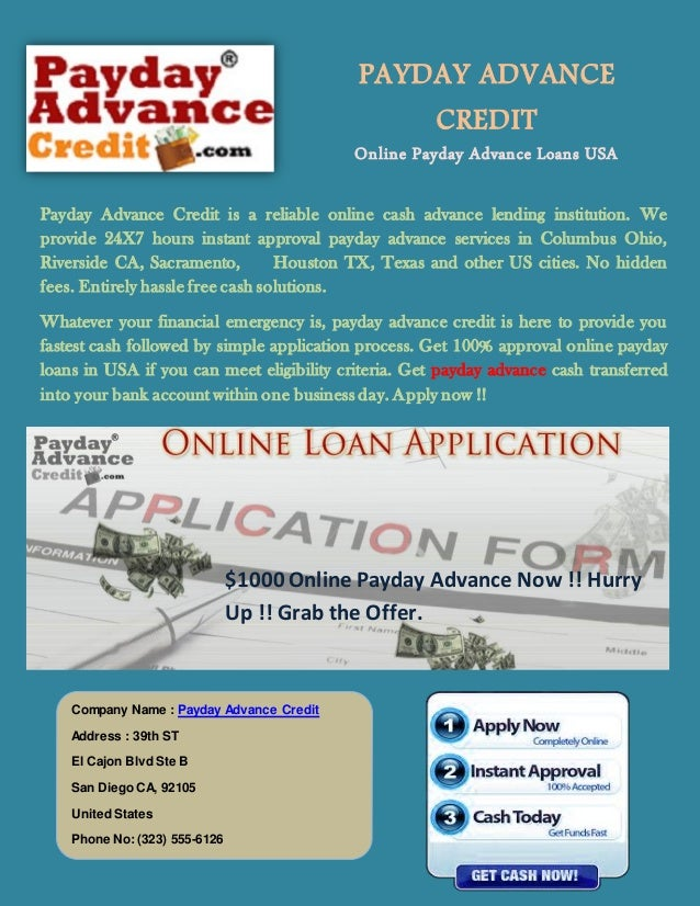 PAYDAY ADVANCE CREDIT Online Payday Advance Loans USA *24 X 7 Hours Open* Payday Advance Credit is a reliable online cash ...