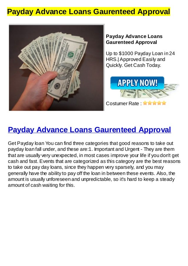 Payday Loans Gaurenteed Approval