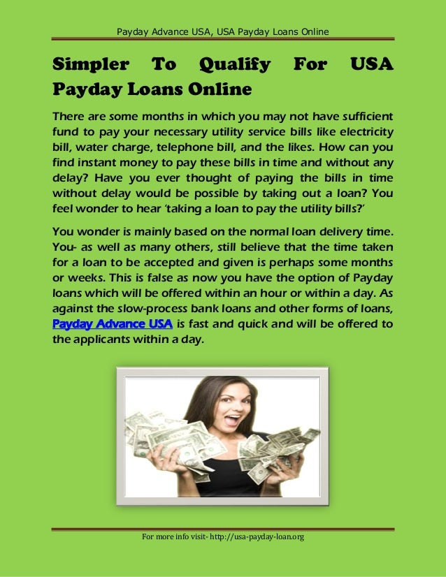 Payday Advance USA, USA Payday Loans OnlineSimpler To Qualify                                          For    USAPayday Lo...