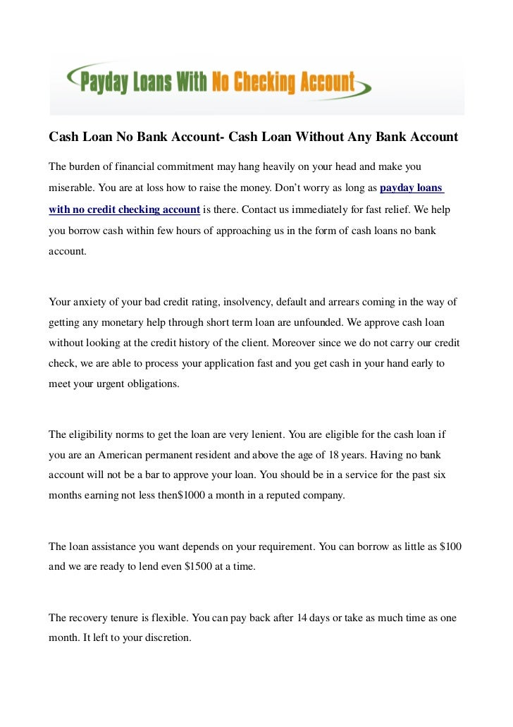 Cash Loan No Bank Account- Cash Loan Without Any Bank Account