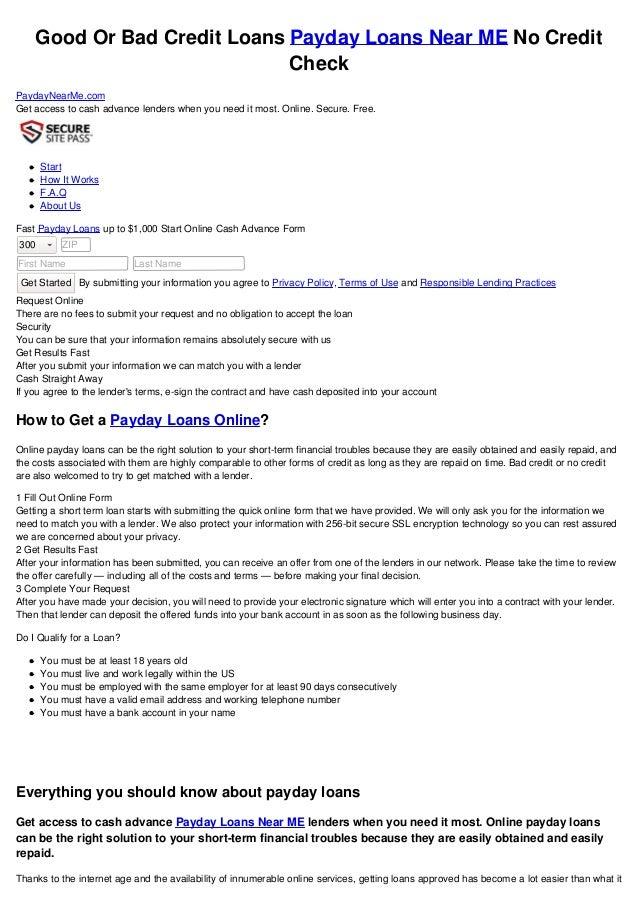 Loans Near Me >> Payday Loans Near Me No Credit Check
