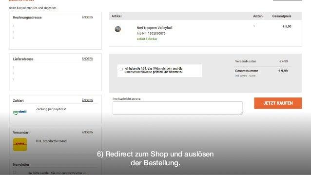 6) Redirect zum Shop und auslösen der Bestellung.