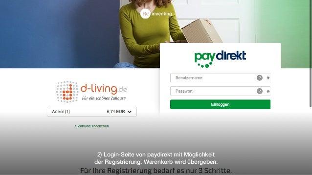 2) Login-Seite von paydirekt mit Möglichkeit der Registrierung. Warenkorb wird übergeben.