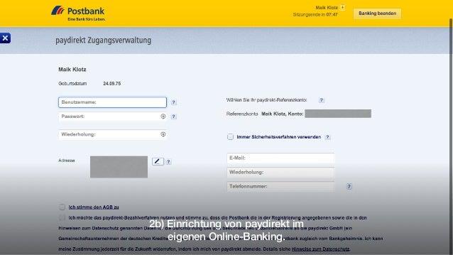 2b) Einrichtung von paydirekt im eigenen Online-Banking.