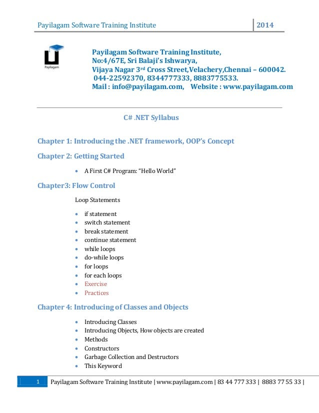 Payilagam Software Training Institute  2014  Payilagam Software Training Institute, No:4/67E, Sri Balaji's Ishwarya, Vijay...