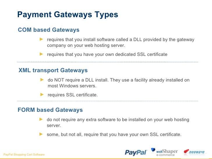 Payment Gateways Types <ul><li>COM based Gateways </li></ul><ul><ul><li>requires that you install software called a DLL pr...