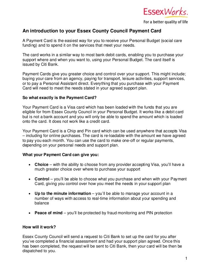 An introduction to your Essex County Council Payment CardA Payment Card is the easiest way for you to receive your Persona...