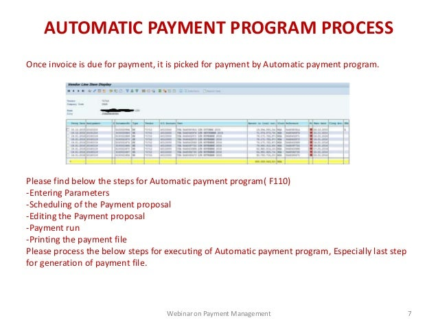 Payment management in SAP