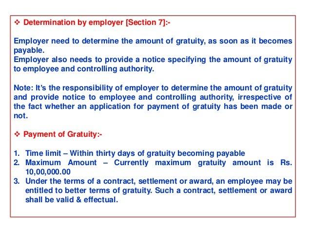 limit of gratuity payment