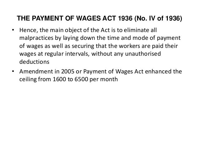 report on wages act 1936 Examined the subject in the light of the commission's report and in february 1933 a bill  the payment of wages act 1936 requires the.