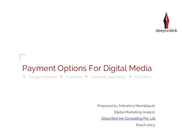 Payment Options For Digital Media Google AdWords   Unbounce   Facebook Advertising     MailChimp                          ...