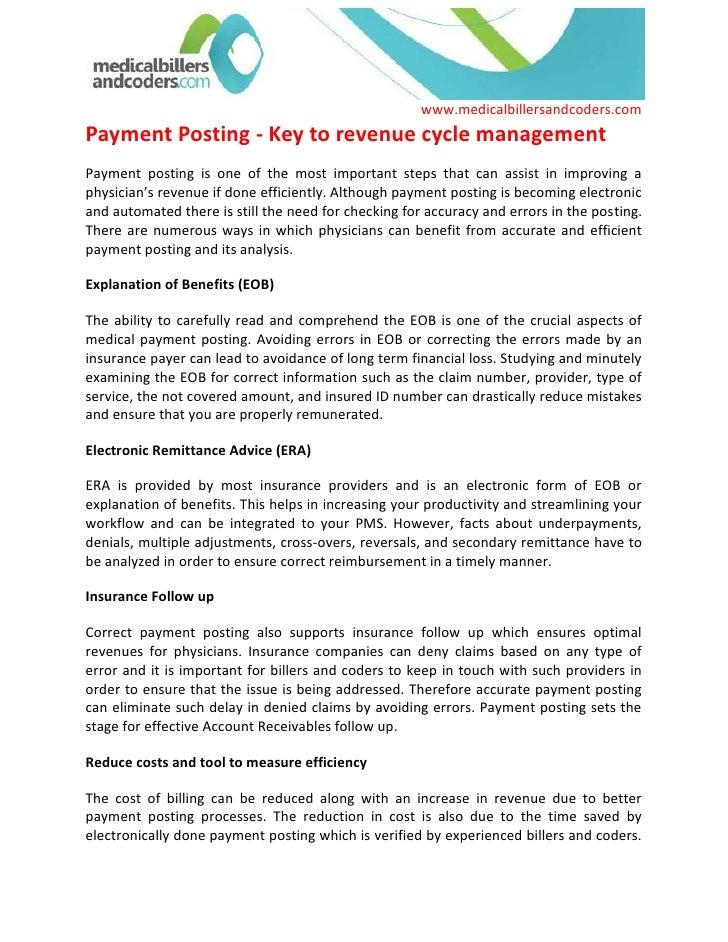 Payment Posting - Key to revenue cycle management<br />Payment posting is one of the most important steps that can assist ...