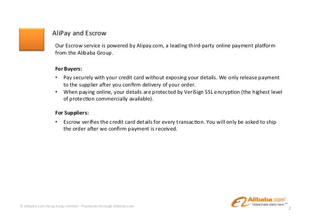 Payments through Alibaba com