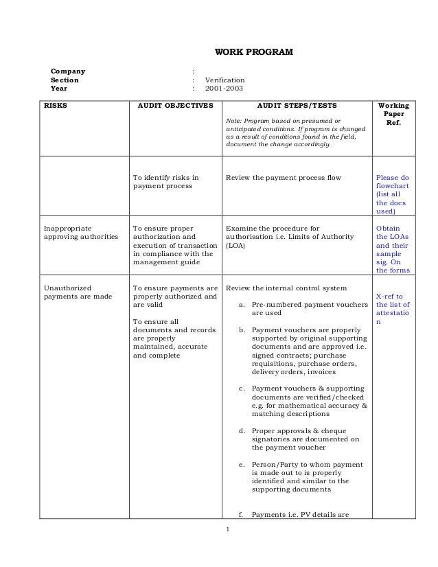Payment verification audit program