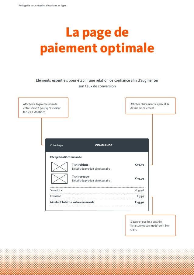La page de paiement optimale Petit guide pour réussir sa boutique en ligne Eléments essentiels pour établir une relation d...