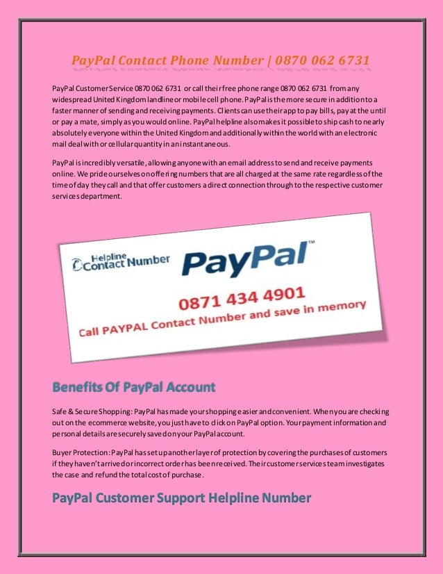 Pay pal Contact Phone Number | 0870 062 6731