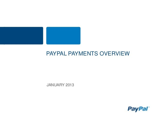 PAYPAL PAYMENTS OVERVIEWJANUARY 2013