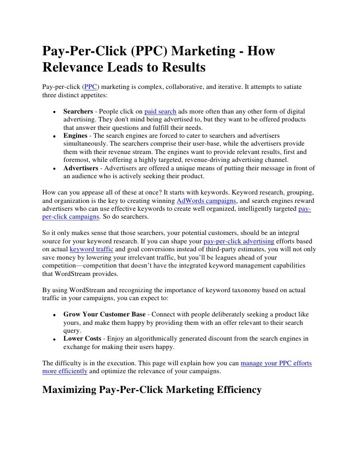 Pay-Per-Click (PPC) Marketing - How Relevance Leads to Results<br />Pay-per-click (PPC) marketing is complex, collaborativ...