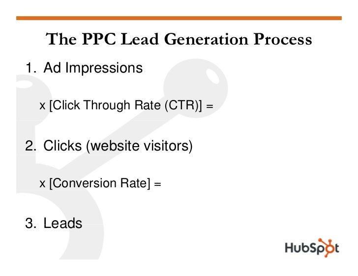 The PPC Lead Generation Process 1. Ad Impressions    x [Click Through Rate (CTR)] =   2. Clicks (website visitors)    x [C...