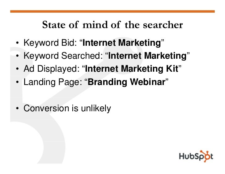 "State of mind of the searcher •   Keyword Bid: ""Internet Marketing"" •   Keyword Searched:     Ke ord Searched ""Internet Ma..."