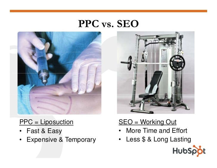PPC vs. SEO                               SEO = Working Out PPC = Liposuction                           • More Time and Ef...