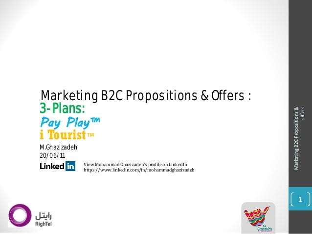 Marketing B2C Propositions &  Offers  1  iTourist™  Pay Play™  Marketing B2C Propositions & Offers :  View Mohammad Ghaziz...