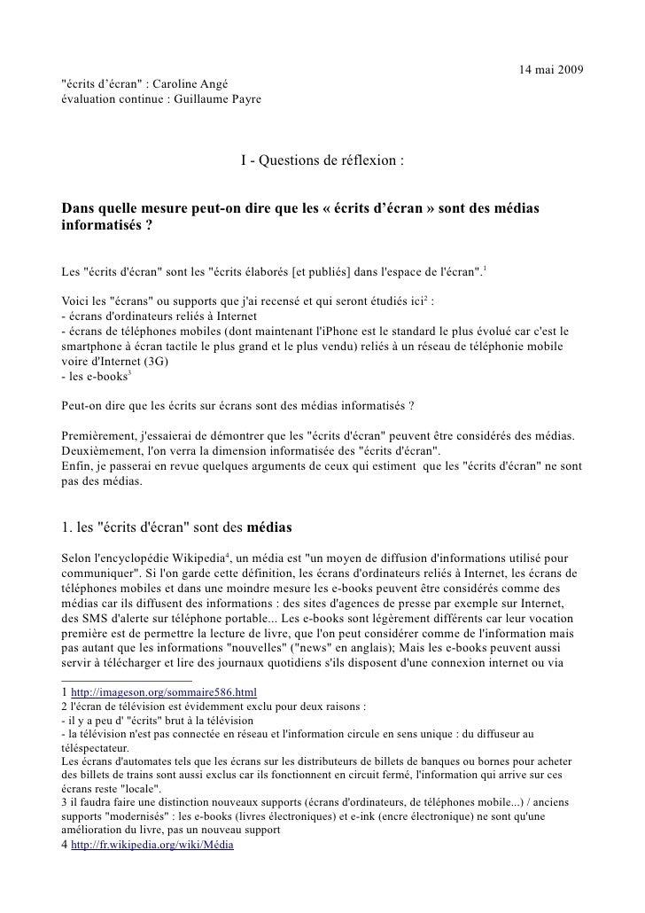 """14 mai 2009""""écrits d'écran"""" : Caroline Angéévaluation continue : Guillaume Payre                                       I -..."""