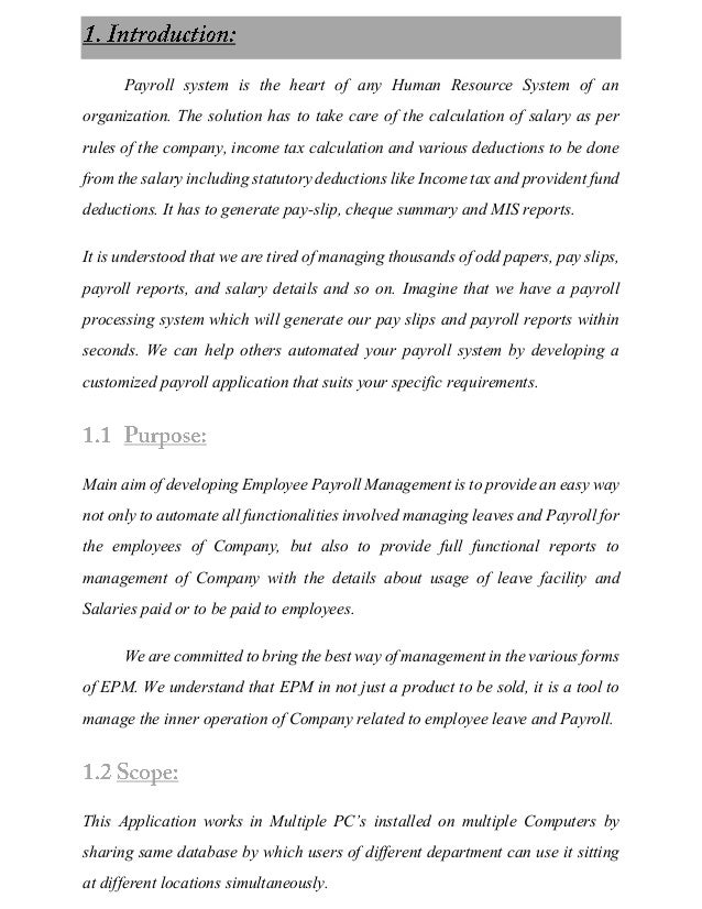 Payroll system documentation essays
