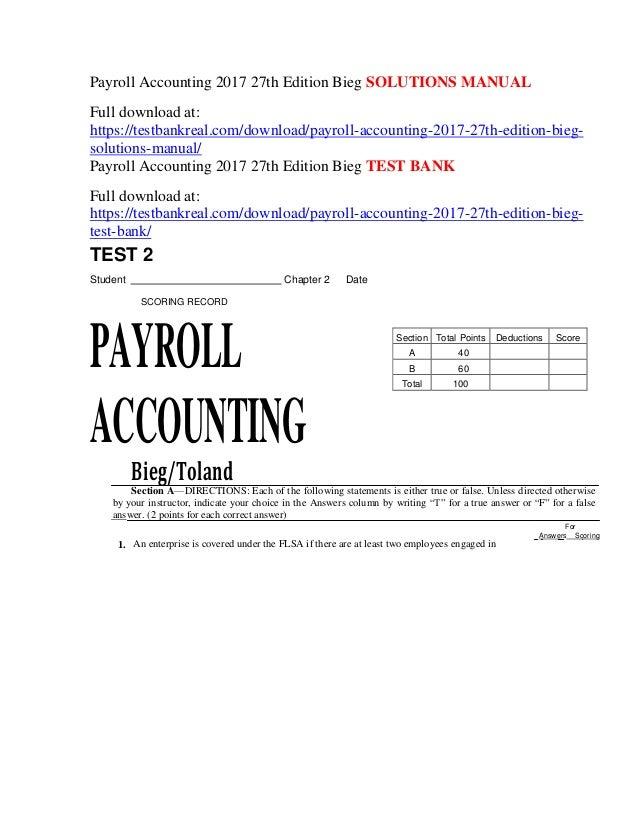Payroll Accounting 2017 27th Edition Bieg Solutions Manual