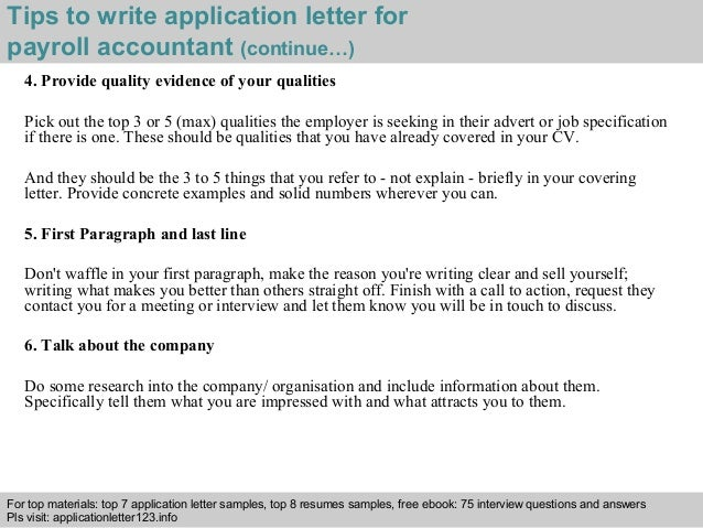 Payroll accountant application letter