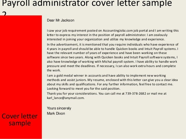 Payroll Administrator Cover Letter Samples