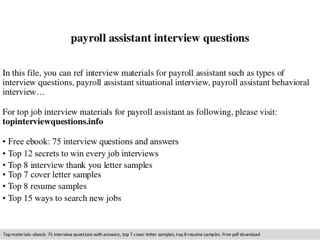 payroll assistant interview questions