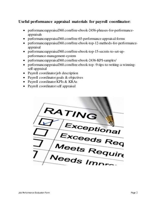 ... Payroll Coordinator Performance Appraisal; 2. Job Performance  Evaluation ...