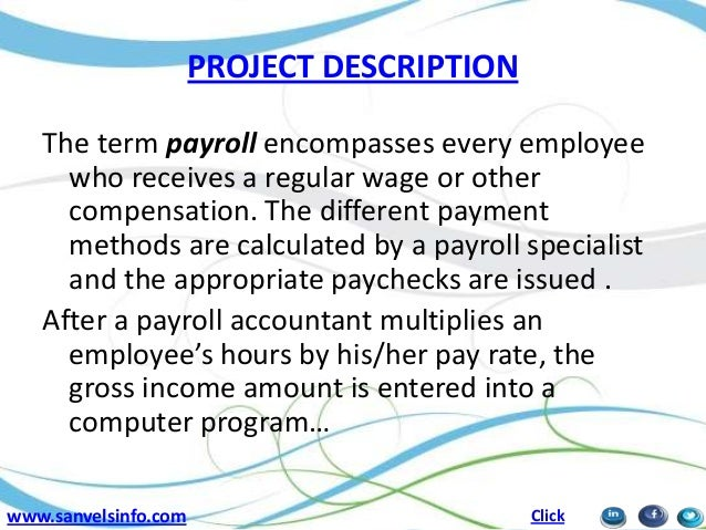 6 project description the term payroll. Resume Example. Resume CV Cover Letter