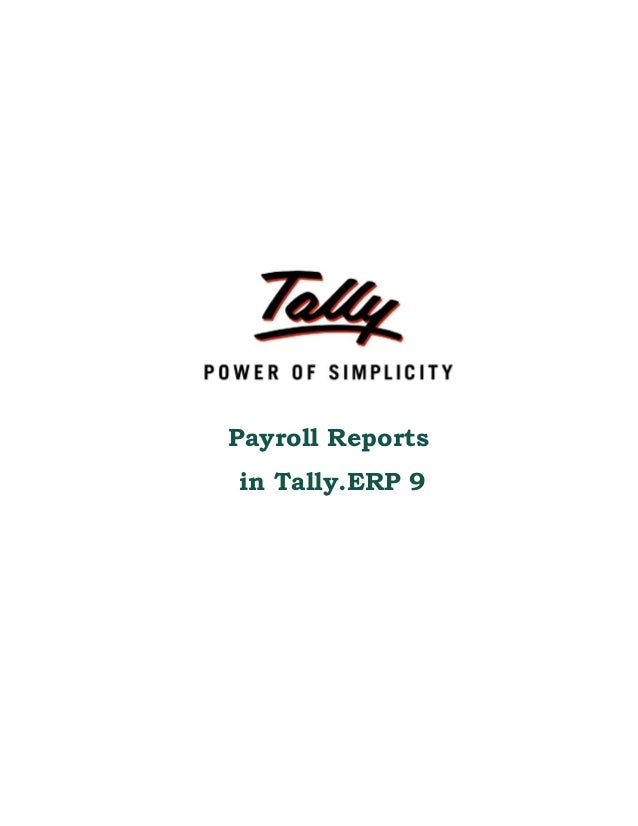 Payroll Reports in Tally.ERP 9