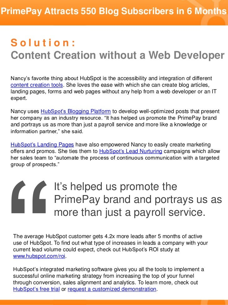 Payroll Services Company Attracts 550 Blog Subscribers in 6 Months Slide 2